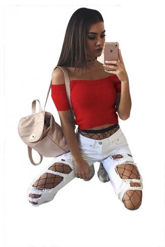 Women Sexy Off Shoulder Plain Crop Sweater Red