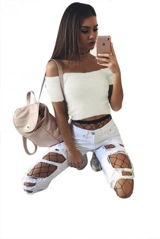 Women Sexy Off Shoulder Plain Crop Sweater White