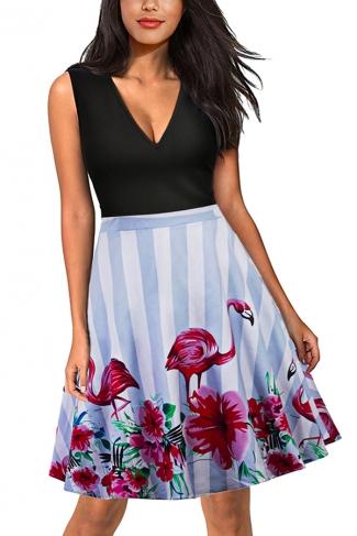 Vintage V Neck Flamingo Floral Print Striped Fit And Flare Dress Light Blue