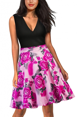 Sexy V Neck Floral Print Sleeveless Fit And Flare Dress Rose Red