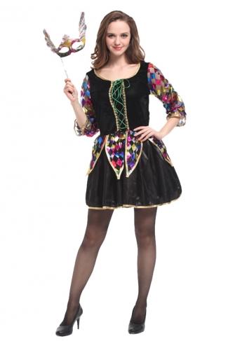 Women Princess Masquerade Dress Halloween Costume Black