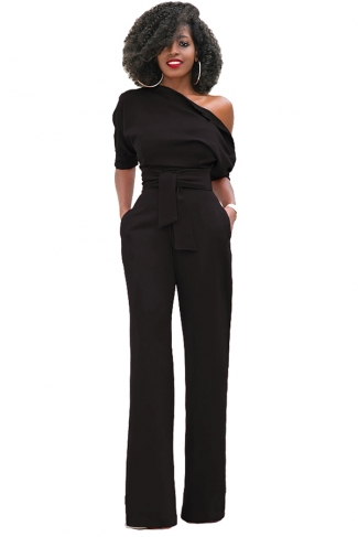 Women Sexy One Shoulder Short Sleeve Belt High Waist Jumpsuit Black