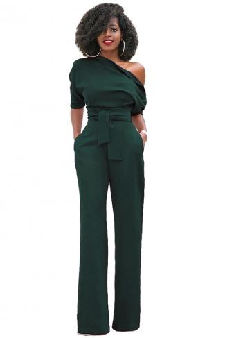 Women Sexy One Shoulder Short Sleeve Belt High Waist Jumpsuit Green