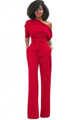 Women Sexy One Shoulder Short Sleeve Belt High Waist Jumpsuit Red