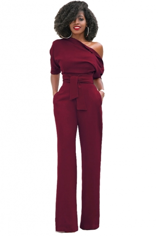 Women Sexy One Shoulder Short Sleeve Belt High Waist Jumpsuit Ruby