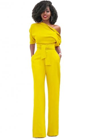 Women Sexy One Shoulder Short Sleeve Belt High Waist Jumpsuit Yellow
