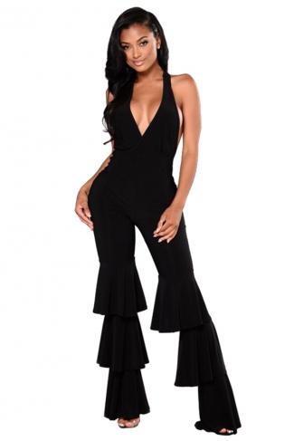Sexy Deep V Halter Backless Pleated Flare Bottom Jumpsuit Black