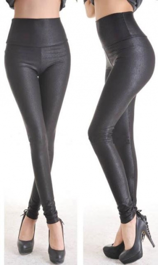 Womens Deep Metallic Faux Leather Stretch Leggings