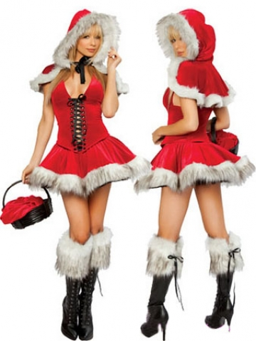 Red Furry Hood Wrap Christmas Present Costume Female Santa Costume