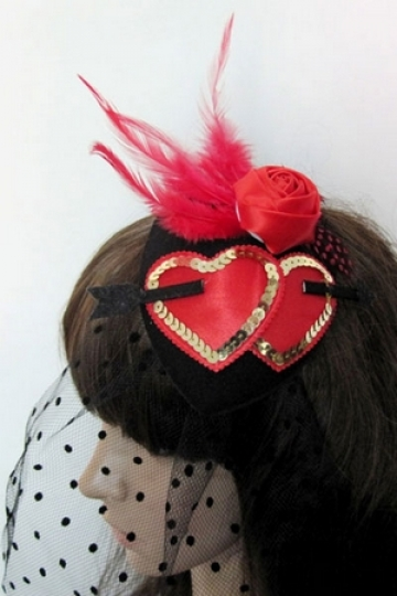 Mini Hat with Hearts And Mesh