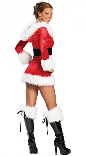 Womens Velvet Hooded Santa Claus Christmas Costume Red