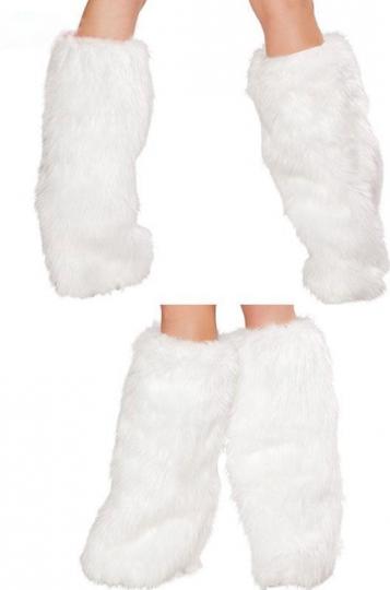 9.44$! White Furry Leg Warmers Leg Warmer Santa Fur Boot Covers For Sale! Fast Shipping!