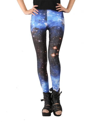 Womens Midnight Blue Space Galaxy Print Leggings