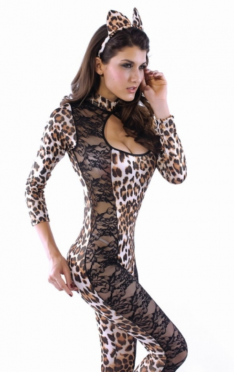 Whole Set Lace Cat Womens Halloween Costume Woman Cat Costume