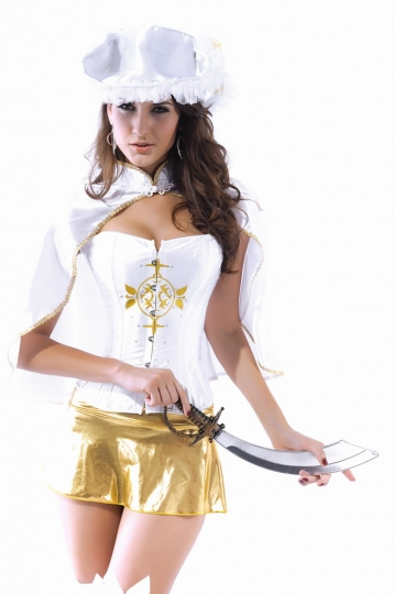 Womens Wrap Corset Musketeer Halloween Costume White