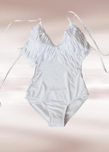 Ultra-sexy V-neck Fringe Monokini White