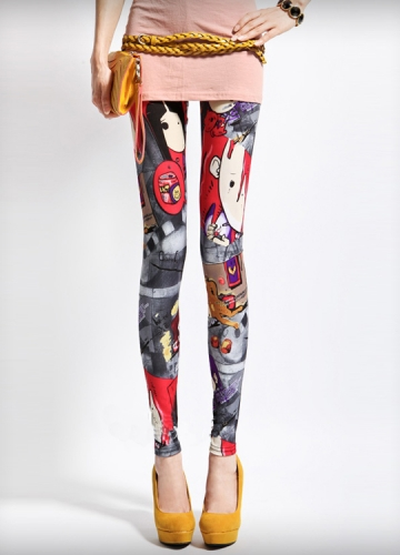 Cute Comic Book Girl Print Leggings