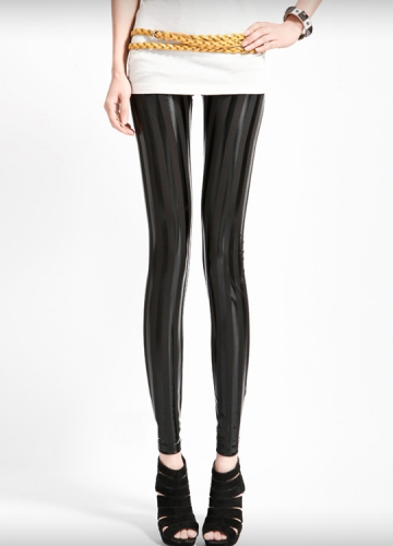 Modern Slim Black Womens Metallic Leggings