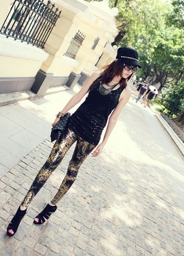 Black Fraux Snake Skin Wet Look  Leggings
