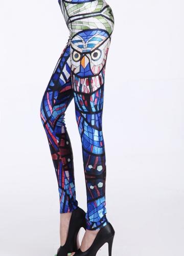 Blue Night Owl Animal Print Leggings