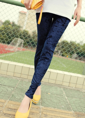 Womens Deep Blue Crushed Velvet Leggings