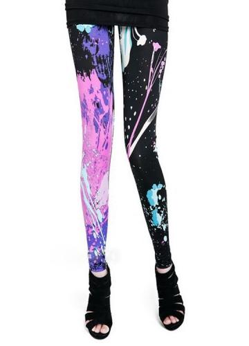Womens Black And Purple Fashion Printed Leggings