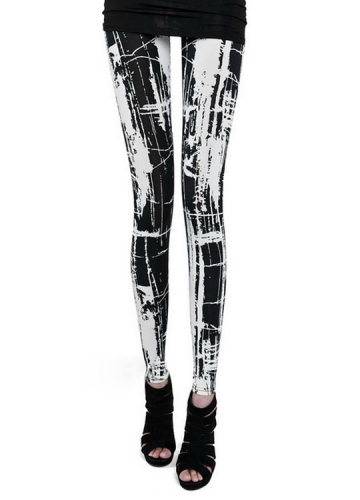 Classic Black and White Doodle Painting Leggings
