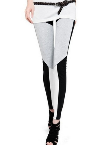 Black And White Geometric Cotton Leggings