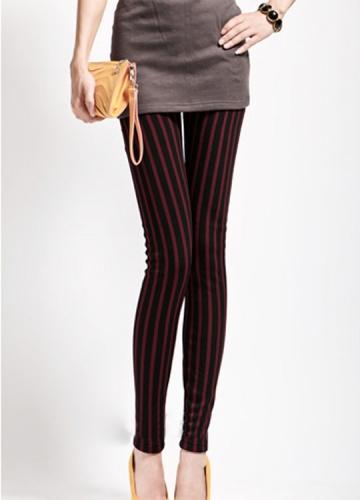 Girls Black And Red Vertical Striped Leggings Stripe Leggings