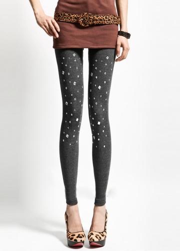 Fashion Grey Rhinestone Studded Leggings Stud Leggings