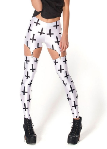 Black Crossed Print Garter Tights White Cross Suspender Leggings