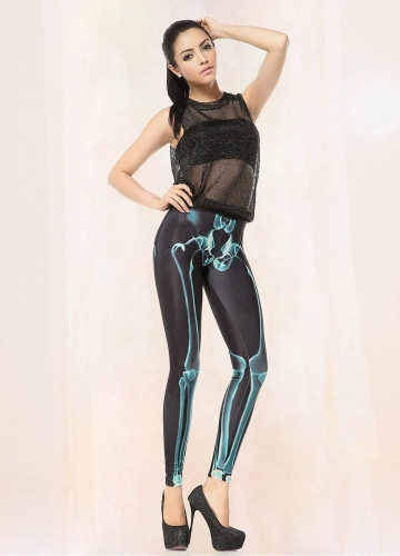 Womens Black Blue Skeleton Printed Leggings