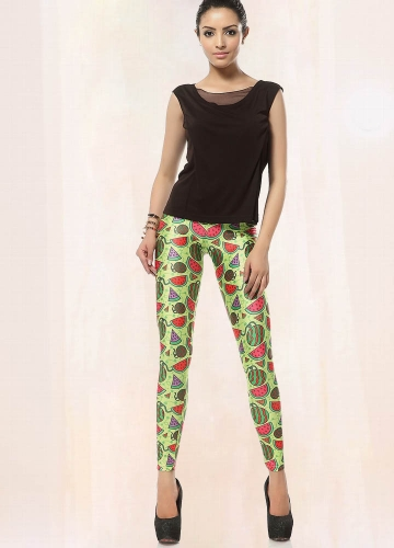Womens Green Cute Comic Watermelon Print Leggings
