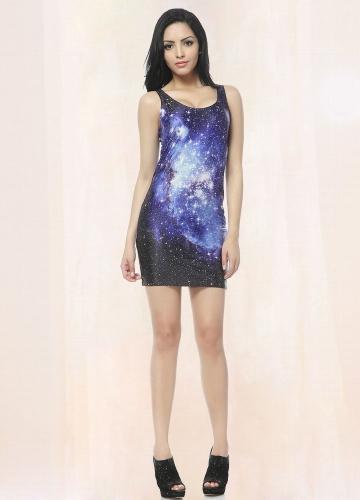 Starry Blue Galaxy Vested Mini Dress