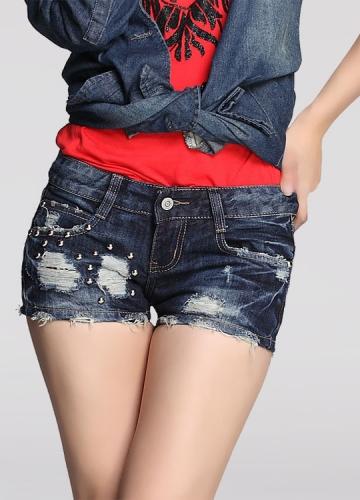 Low-waist Frayed Rivet Denim Short Rivet Denim Shorts
