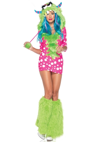 Melody Monster Fairy Womens Pink and Green Costume