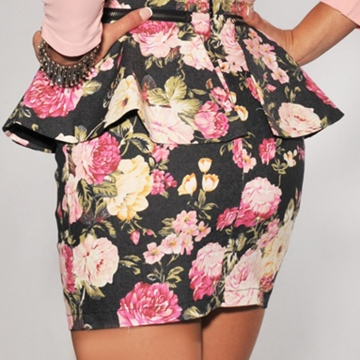 Floral Print Peplum Dress