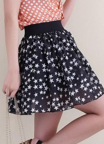 Stars Printed Black Skirt