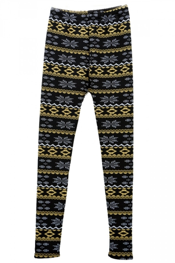Black Yellow Winter Lined Christmas Tights Floral Christmas Leggings