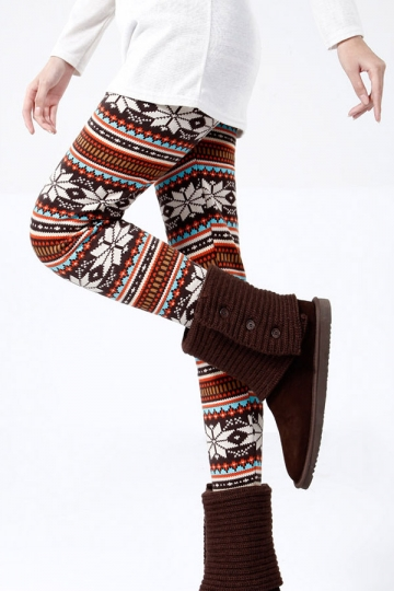 Winter Print Striped Warm Cotton Lined Christmas Leggings