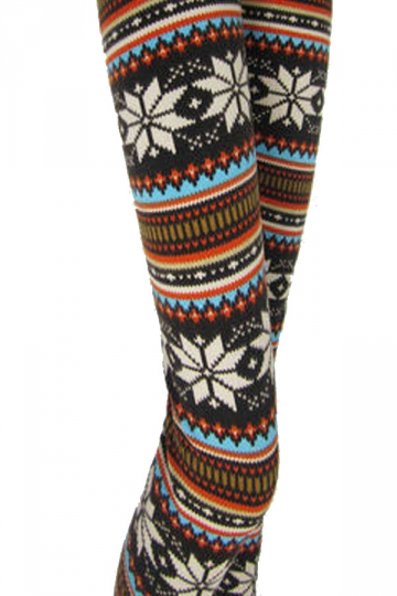 Orange Winter Print Snow Fair Isle Pattern Christmas Leggings