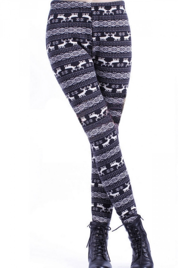 White and Black Santa Deer Pattern Christmas Leggings