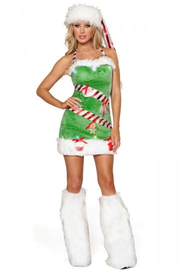 42.84$! Sexy Green Off Shoulder Womens Christmas Tree Costume Fur ...