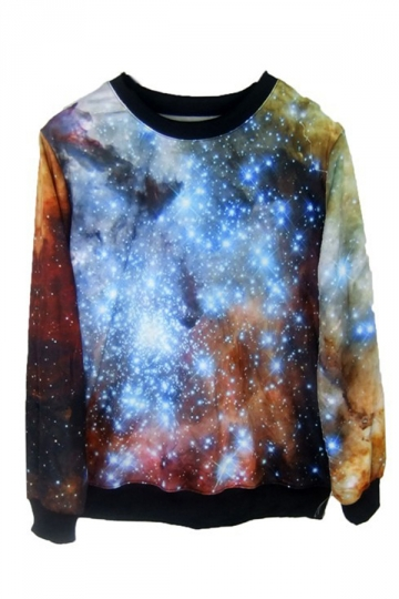 Tie-dye Blue and Brown Galaxy Print Sweatshirt
