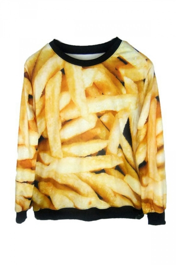 French Fries Chips Print Sweatshirt