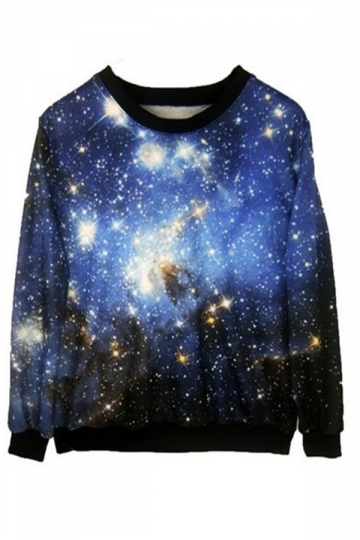 Blue and Brown Round Neck Galaxy Print Sweatshirt