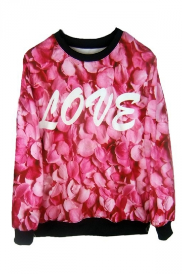 Love Rose Petals Print Sweatshirt