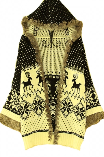 Black White Reindeer Winter Snow Furry Womens Christmas Sweater Coat