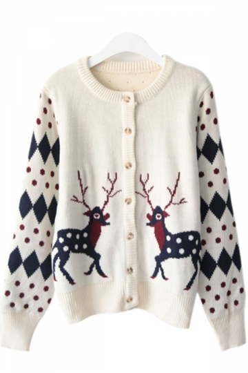 37.98$! Womens Cute Polka Dot Reindeer Winter Christmas Cardigan ...