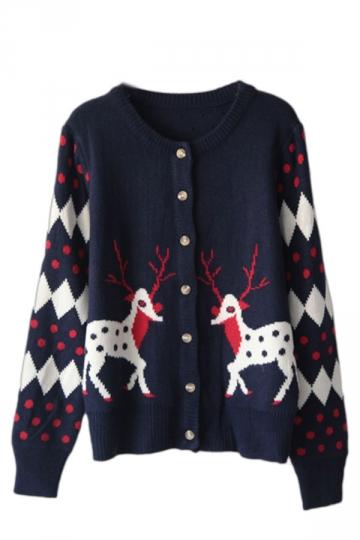 37.98$! Cute Blue Reindeer Winter Women Christmas Knitted Cardigan ...